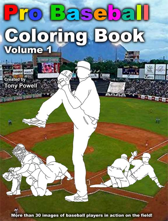 Pro Baseball Coloring Book by Tony Powell