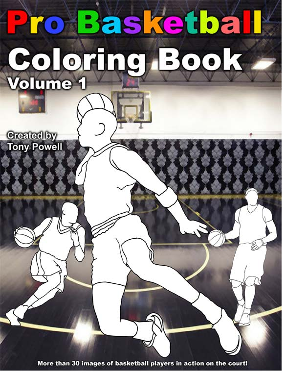 Pro Basketball Coloring Book by Tony Powell