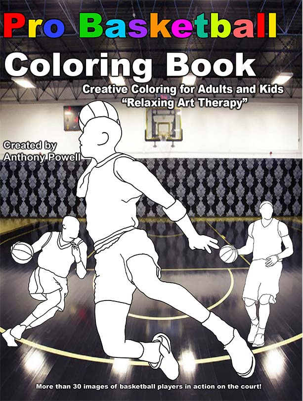 Pro Basketball Adult Coloring Book by Tony Powell