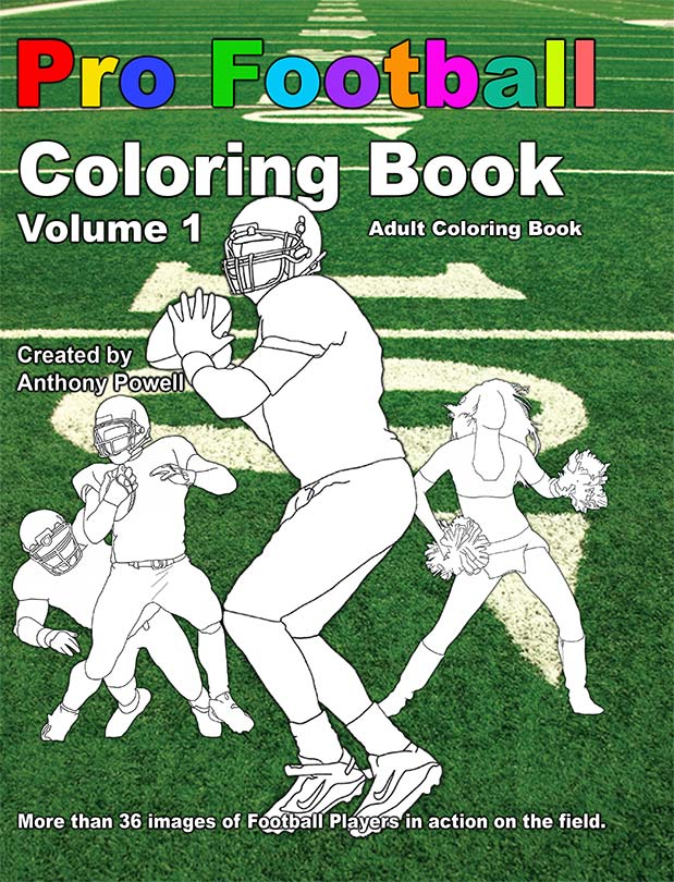 Pro Football Adult Coloring Book by Anthony Powell