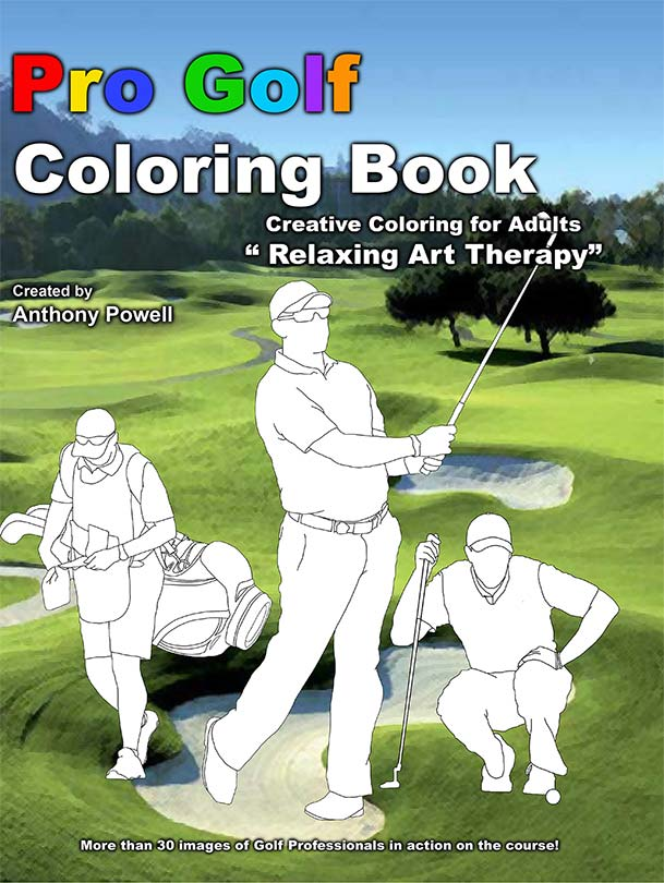 Pro Golf Adult Coloring Book by Tony Powell