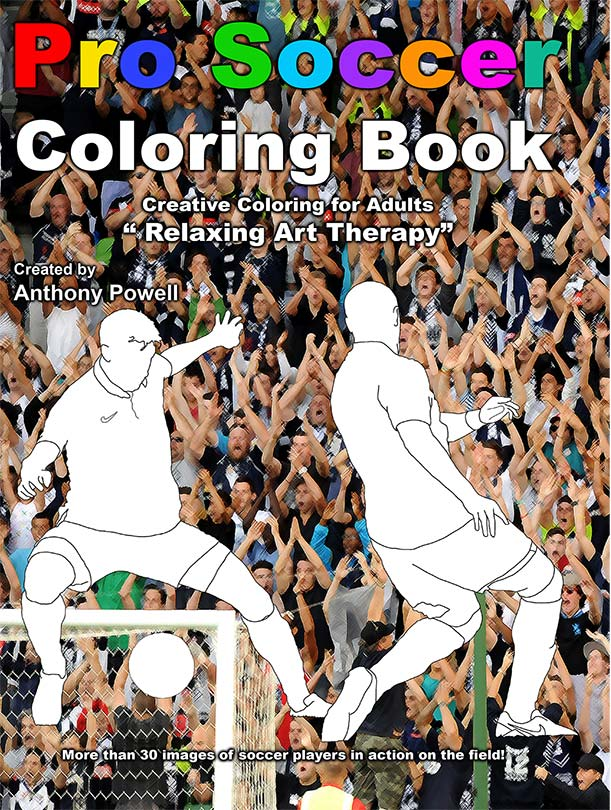 Pro Soccer Adult Coloring Book by Tony Powell