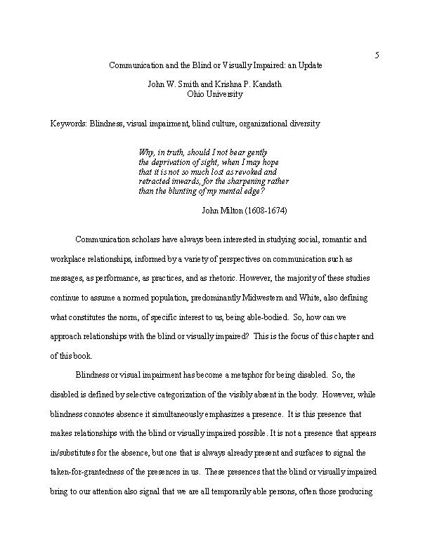Essays on Communication and the Blind & Visually Impaired-Smith ...