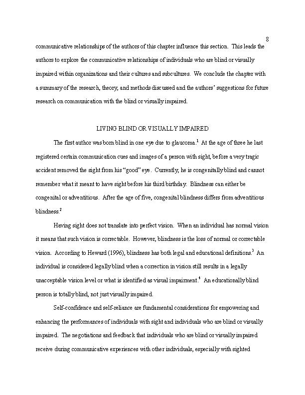 Essays On Communication And The Blind  Visually Impairedsmith  Essays On Communication And The Blind  Visually Impairedsmith View Low  Resolution Preview Essays About Business also Essay On English Subject  A Modest Proposal Essay